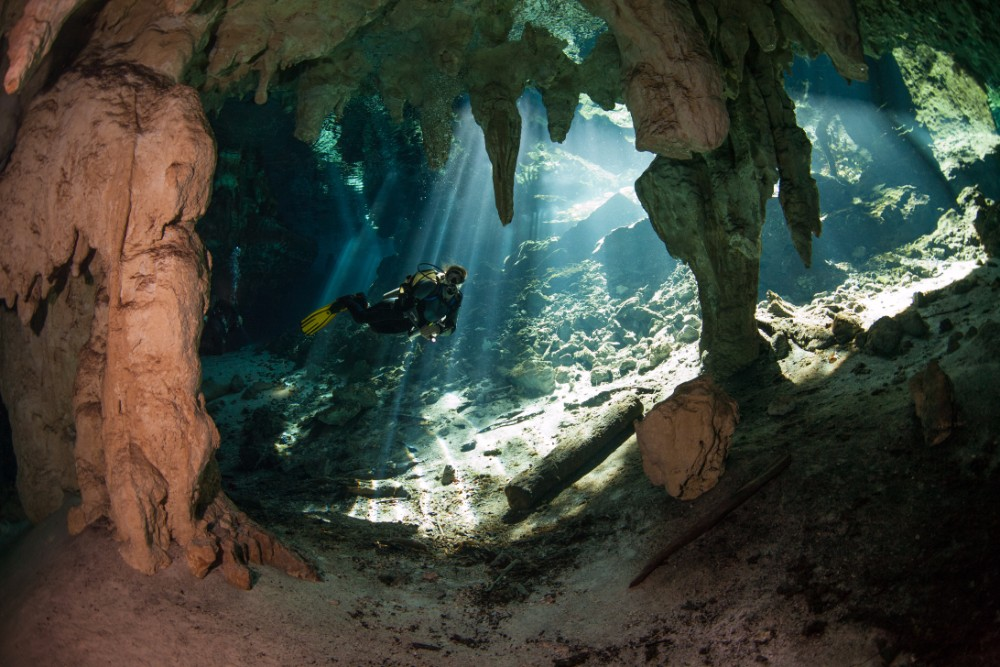 shutterstock_160188005, cave diving in cenote, 592593