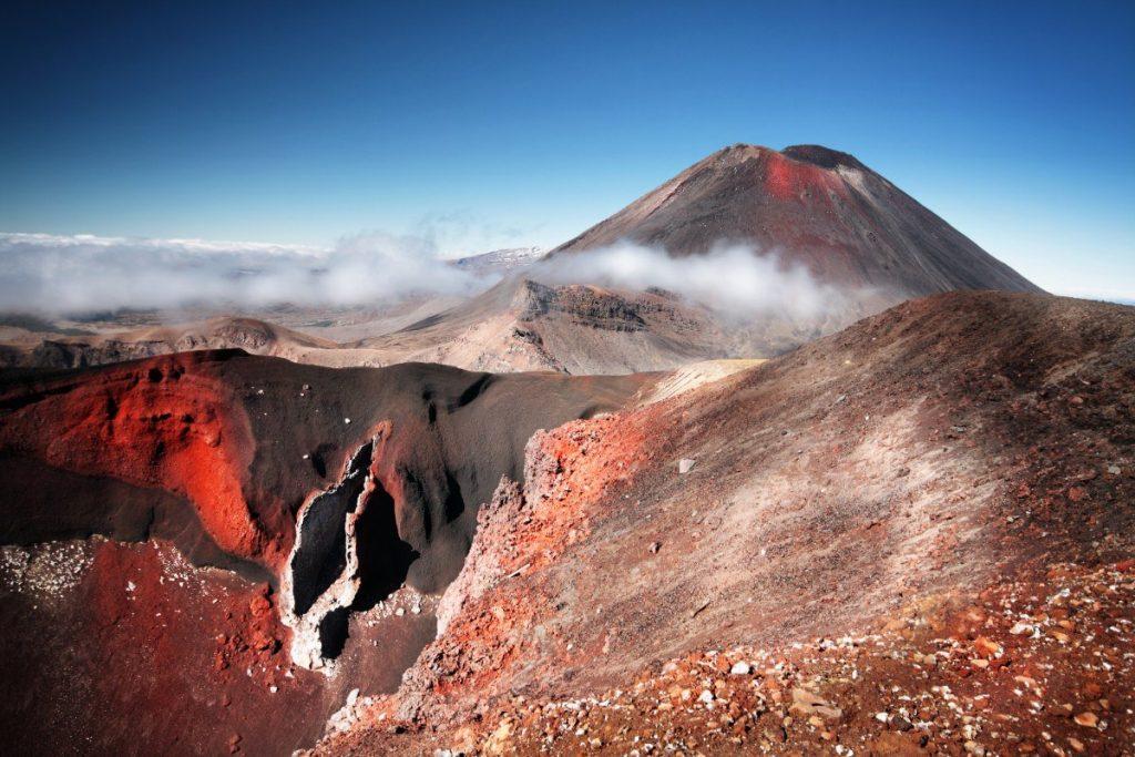 Mt.Ngauruhoe na Severním ostrově je součástí národního parku Tongariro.