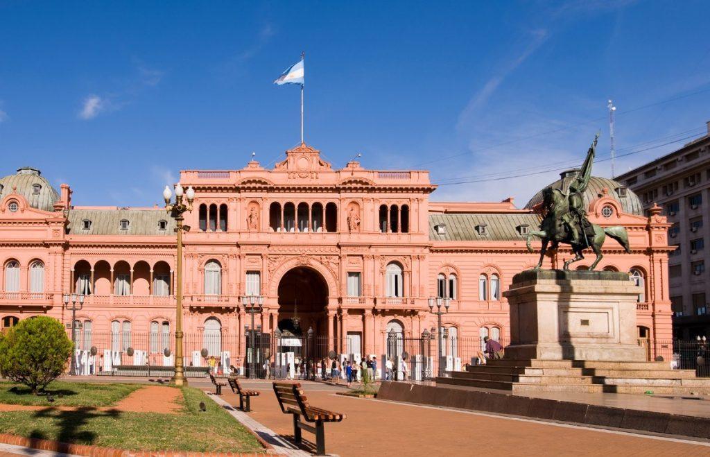 Prezidentský palác, Casa Rosada v Buenos Aires, hlavním městě Argentiny.