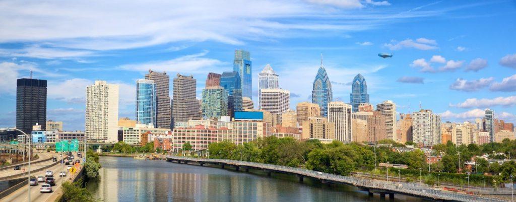 Pohled na panorama Philadelphie.