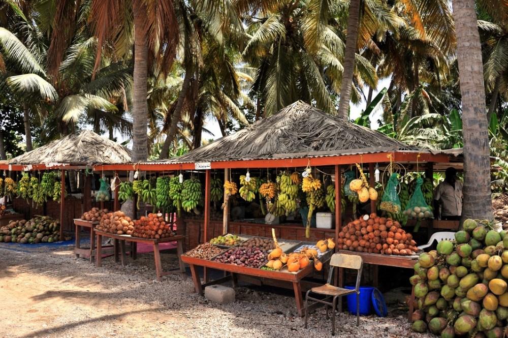 Tradiční stánky s ovocem v ománském městě Salalah.