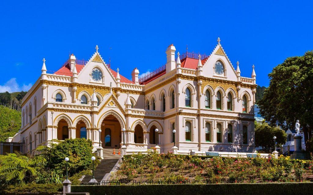 Budova parlamentní knihovny ve městě Wellington.