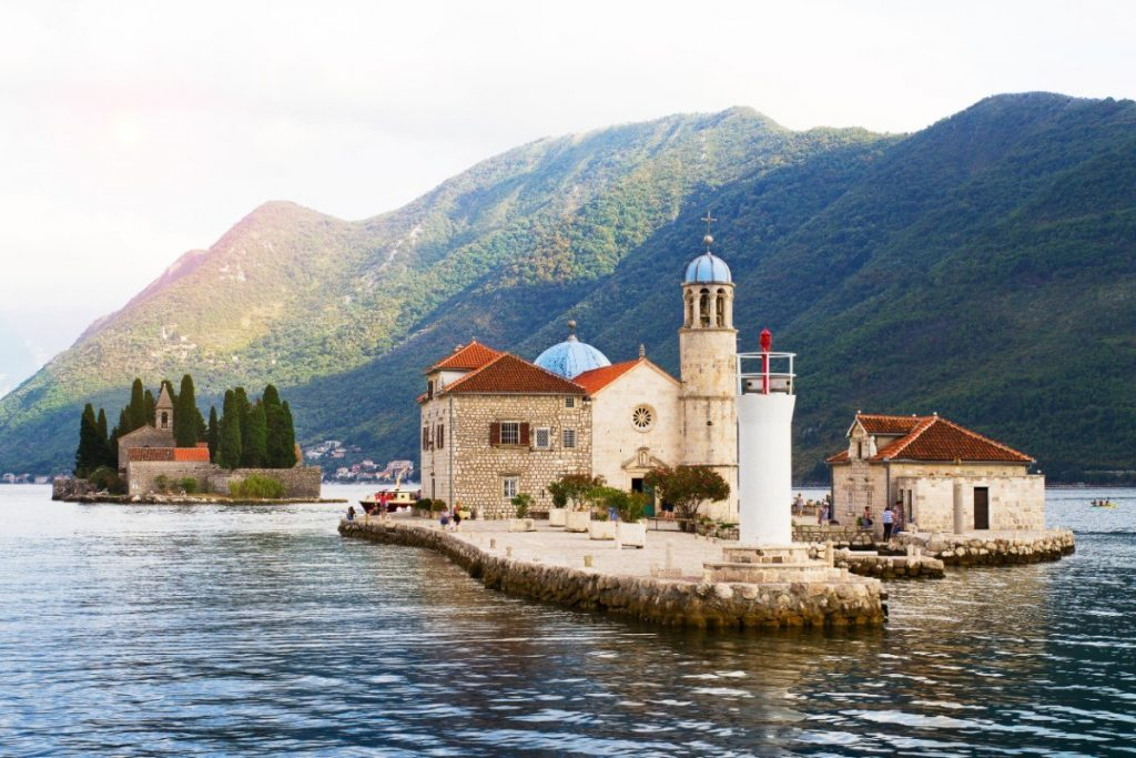 shutterstock_626079272_Our Lady of the Rock island and Church in Perast on shore of Boka Kotor bay